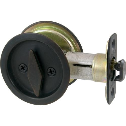 Kwikset 335 11P Round Privacy Pocket Door Lock Venetian Bronze Finish