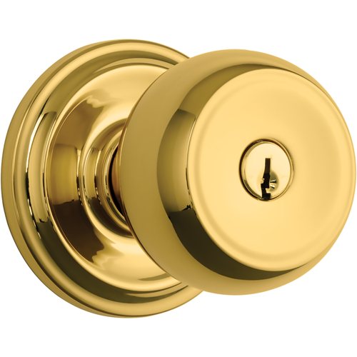 Brinks 23001-105 Stafford Keyed Entry Push Pull Rotate Lockset with Kwikset Keyway Polished Brass Finish