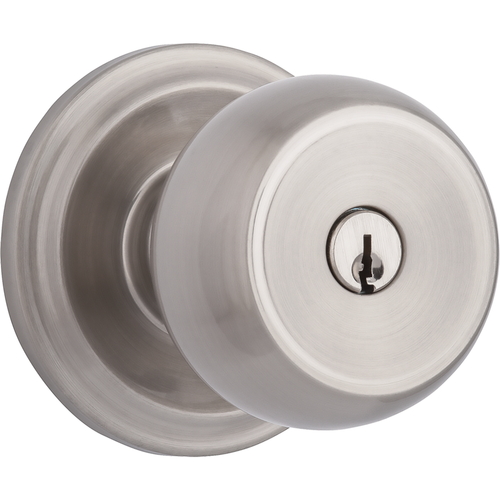 Brinks 23001-119 Stafford Keyed Entry Push Pull Rotate Lockset with Kwikset Keyway Satin Nickel Finish