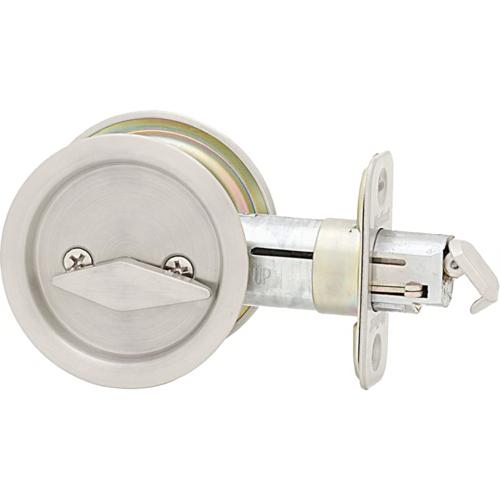 Kwikset 335 15 Round Privacy Pocket Door Lock Satin Nickel Finish