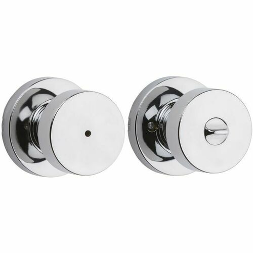 Kwikset 730PSKRDT-26 Pismo Knob with Round Rose Privacy Lock with 6AL Latch and RCS Strike Bright Chrome Finish