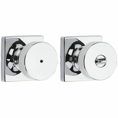 Kwikset 730PSKSQT-26 Pismo Knob with Square Rose Privacy Lock with 6AL Latch and RCS Strike Bright Chrome Finish